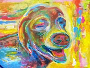 犬 水彩画 似顔絵 オーダーメイド カラフル